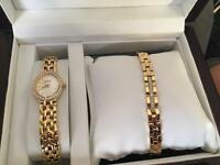 Citizen gold plated watch and bracelet