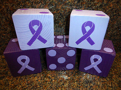 1 Jumbo Lawn Yard Wood DICE - Purple CANCER AWARENESS Yahtzee,Bunco,Farkle,Decor