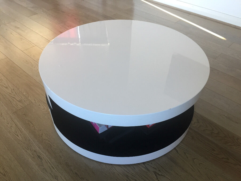 Dwell Swivel Round Coffee Table High Gloss White And Black