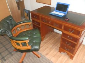 Reproduction Antique Style Leather Top Desk & Chesterfield Captain's chair, in great condition.
