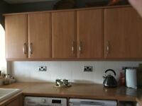 Beech effect kitchen cabinets and cupboards
