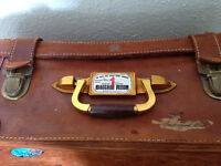 PRICE REDUCED Antique/Vintage/Retro Leather Suitcase with Travel Labels
