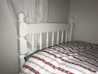 Small single pine bed and mattress