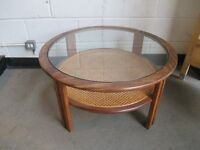 G PLAN ROUND TWO TIER GLASS TOP COFFEE TABLE WITH CANE UNDERSHELF FREE DELIVERY