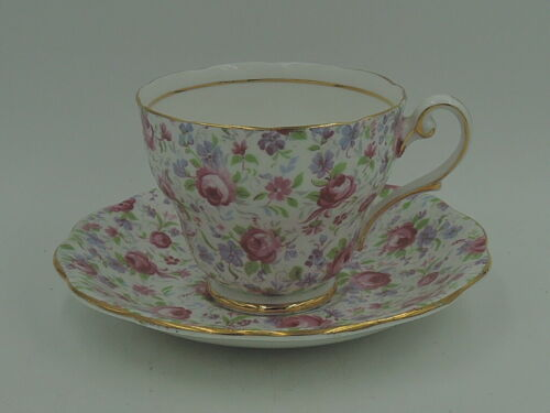 Vintage Royal Standard Chintz Pink Roses Cup & Saucer Fine Bone China