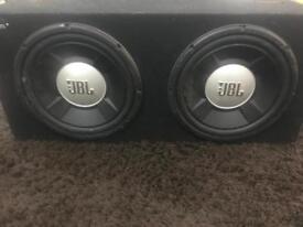 2 x 12 inch JBL subwoofers in box - 2200 watts