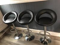 Black leather Kitchen Bar Stools