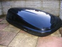 HALFORDS LARGE ROOF BOX + FITTINGS + KEY