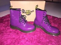 Dr Martens Womens Size 5 Purple Patent Air Wair Boots