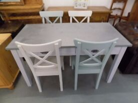 Painted Wooden Zinc Topped Dining Kitchen Table & 4 Chairs