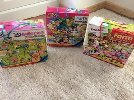 3 Jumbo Floor Puzzles - Farm, Ballerina and Fairy