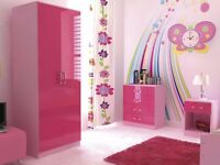 **10 DAYS MONEY BACK GUARANTY*STUNNING*ALINA 3 IN 1 PIECE*HIGH GLOSS BED ROOM SET-Pink,Blue,Black**