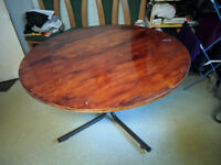 Round wood dining table metal legs strong 120cm