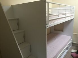 White storage bunk beds with deluxe staircase perfect condition only 6 months old