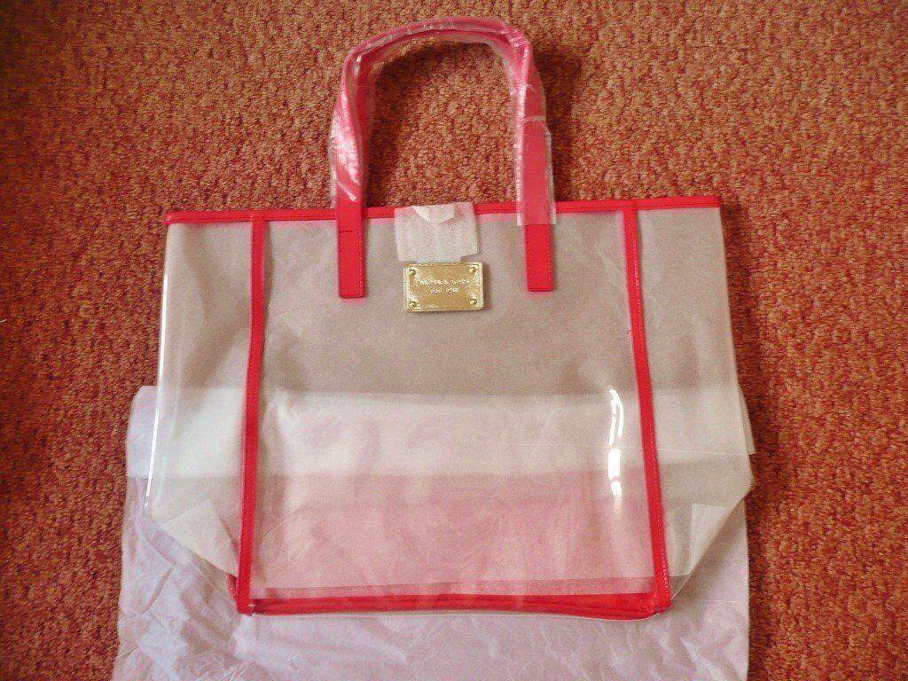 96c2177ac5fd ... where to buy ladies womens michael kors clear pvc tote beach shopping  bag coral pink orange