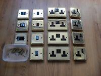 Job lot of brass light switches / sockets etc