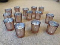 Wedding Decoration Rose Gold Pink Tealight Candle Holders