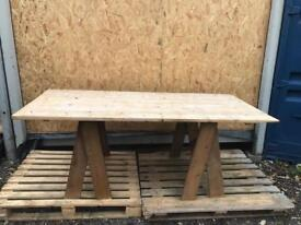 Reclaimed Wood Pine Trestle Dinning Table Kitchen Desk