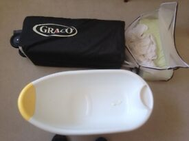Graco Travel Cot in Excellent Condition; Also Baby Bath