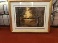 Woodland print of an oil painting in a solid wood frame