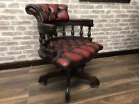 Chesterfield Captains Chair - Oxblood Red