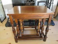 Vintage Solid Oak Nest of Tables