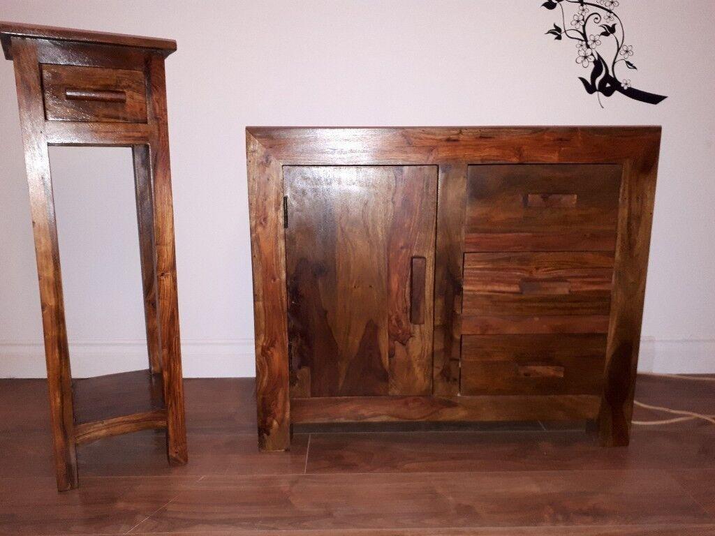 Ansprechend Sideboard 180 Dekoration Von Dark Mango Wood & Small Table £180