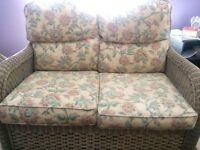 Conservatory cane 2 seater sofa with matching coffee table