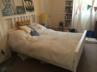 Quick sale of a 1 year old IKEA HEMNES delightful white wood bed frame and mattress.Sell by 08/09/16