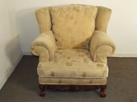 BALL & CLAW FOOT WING BACK FIRESIDE ARM CHAIR FREE DELIVERY IN EDINBURGH GLASGOW TAYSIDE & FIFE AREA