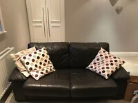 Matching brown leather sofa bed and two seater