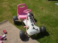 pink and white go cart