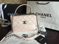 Chanel flap bag. Cream lambskin leather