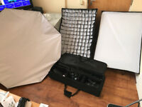 Bowens gemini studio kit w/ diffusers. X2 200w flash heads, tripods, sync cable, octobox, softboxes.