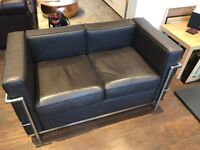 Two Le Corbusier LC2 Reproduction Sofas