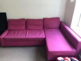 "Ikea corner sofa bed ""pink"""