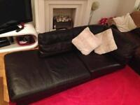 BROWN LEATHER CHAISE LOUNGE STYLE SOFA - GOOD QUALITY