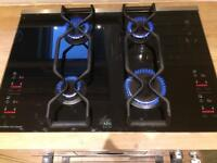 AEG black glass gas hob with touch controls