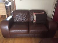 Genuine brown leather 3 seater L shaped sofa & 2 seater sofa