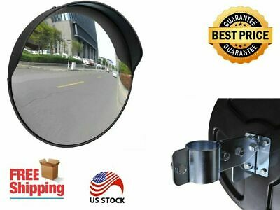 Outdoor Traffic Convex Mirror Black With A Built-in Rain Cover Pc And Steel 12