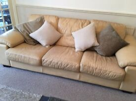 FREE TO A GOOD HOME! 3 seater cream leather sofa for free