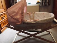 Mothercare Moses basket & stand (as new)