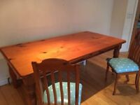Large Solid Wood 6 to 8 seat dining table + chairs