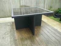 Rattan Black Glass Garden Table(no chairs)