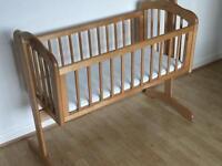 Nearly New Mothercare Swingjng Crib and CoolMax Mattress