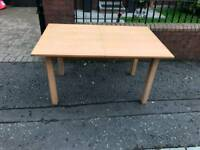 Dining room table oak wood extendable