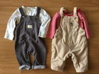Dungarees/tops set (two), John Lewis 0-3m