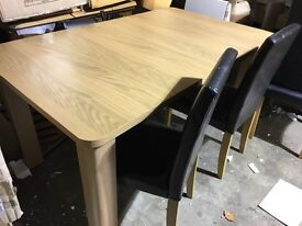 Shenley Oak Veneer Extendable Dining Table And 4 chairs