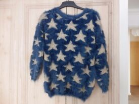 EYELASH NAVY JUMPER WITH GOLD STARS AS NEW ONE SIZE