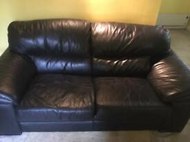 Black Leather 2/3 Seater Settee